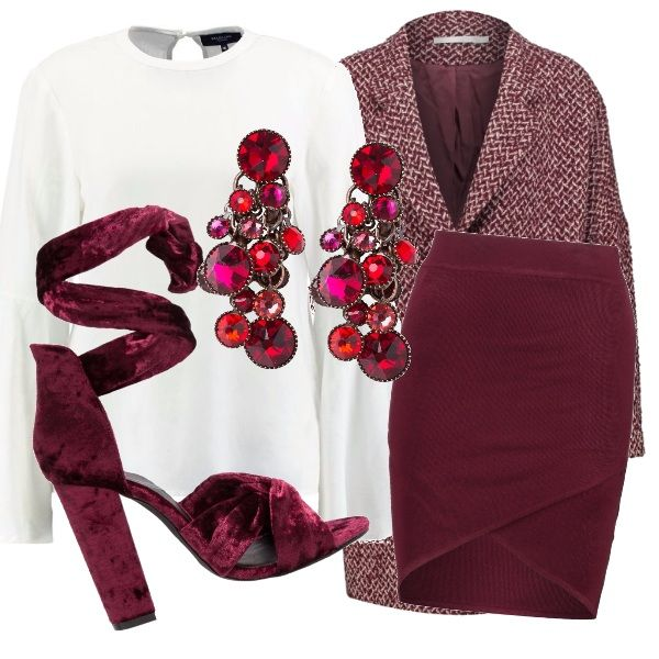 Outfit elegante per trascorrere una giornata in ufficio. Camicia con maniche larghe color bianco, per lasciare spazio agli altri capi sulle tonalità del rosso. Gonna a tubino più corta sul davanti, cappotto rosso, sandalo invernale e orecchino pendente.