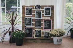 Wooden Palette Table Plan | Beaconside House wedding venue Devon | Maggie Sottero bridal gown | vintage pub wedding theme | Highland Games | Images by Helen Lisk Photography | http://www.rockmywedding.co.uk/michaela-jon/