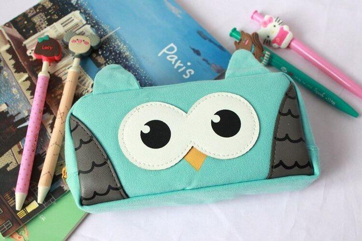 Dream Owl Pencil Case (Blue) #Blue #Canvas #Pencil-Case