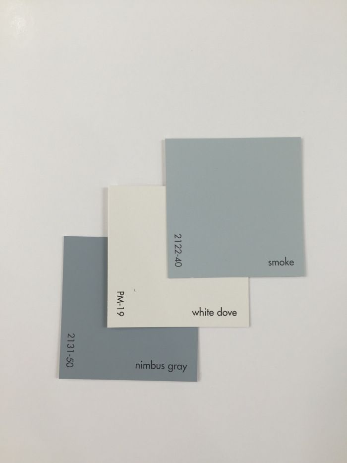 2131-50 Nimbus Gray paired with PM-19 White Dove and 2122-40 Smoke. Benjamin Moore