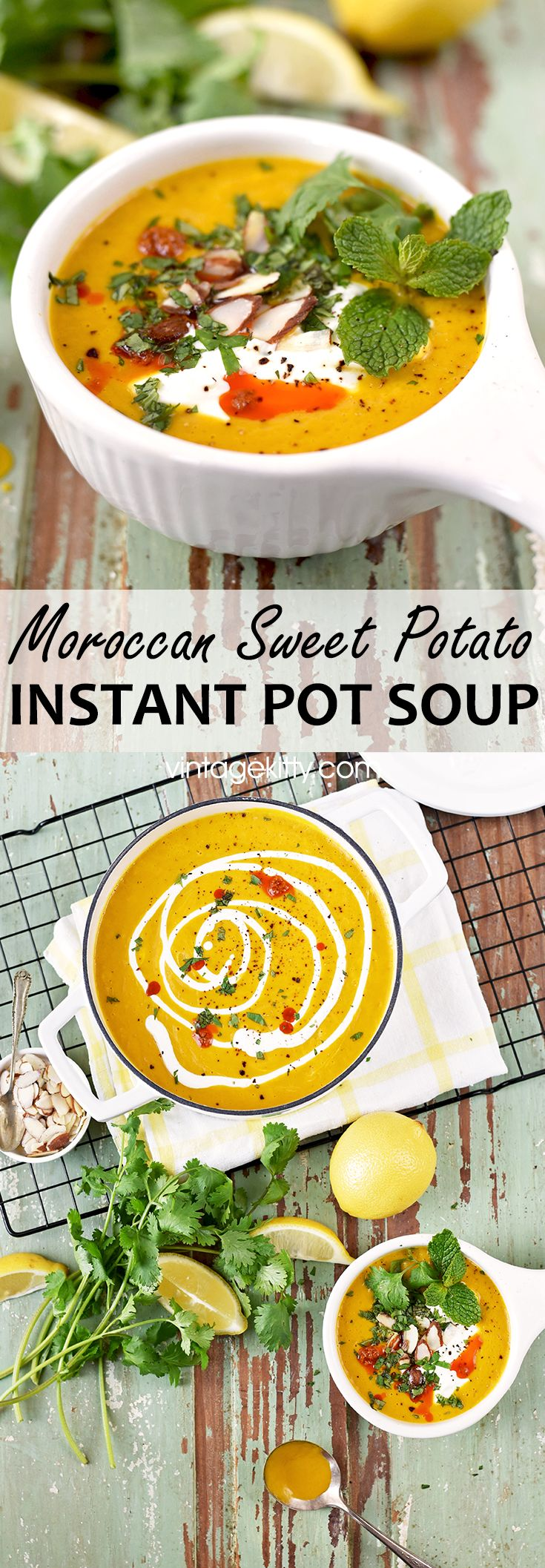 All the flavor in about half the time! Our Moroccan Pot Sweet Potato Soup is made in the Instant Pot for an easy weeknight meal. We've topped it with a minty herb mix and harissa for bold, low calorie flavor. #instantpot #healthyeats #easymeal