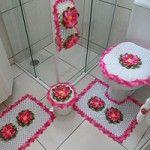 Jogo de Banheiro Mega Flor Rosa Pink