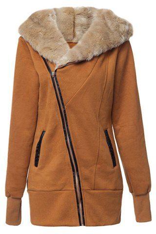 Fashionable Hooded Long Sleeve Faux Fur Spliced Zippered Women's Coat