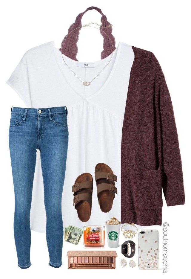 """Went shopping at Target today!! "" by southernsophia ❤ liked on Polyvore featuring MANGO, H&M, Apple, Frame, Kate Spade, Kendra Scott, Birkenstock and Urban Decay"