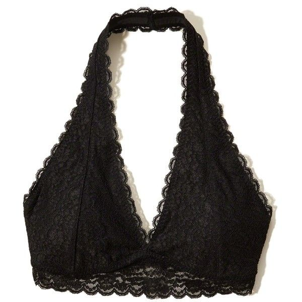 Hollister Gilly Hicks Removable-Pads Lace Halter Bralette (1.065 RUB) ❤ liked on Polyvore featuring intimates, bras, black lace, halter-neck tops, halter neck bra, lace bra, bralette bras and halter bra