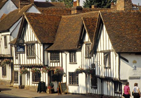 'The Swan Inn' on the high street of Lavenham, Suffolk. Formerly a Trusthouse Forte property, it has comfy Tudor rooms and serves lovely cream teas.