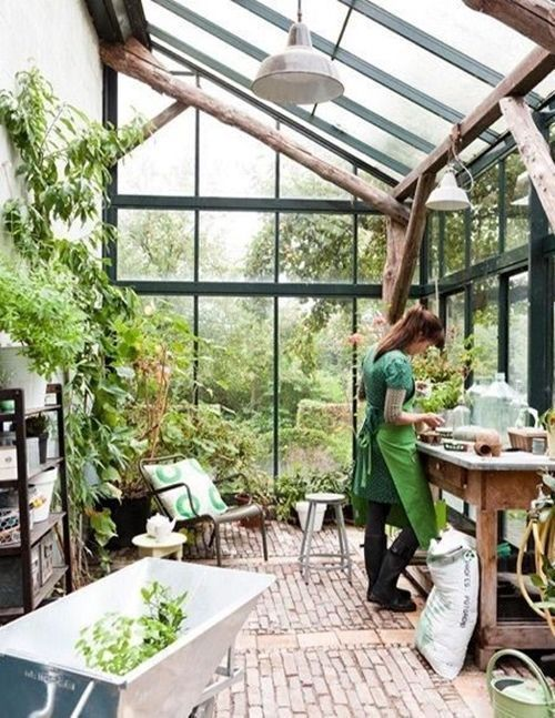 435 best images about greenhouses and gardening sheds for Tiny house with greenhouse
