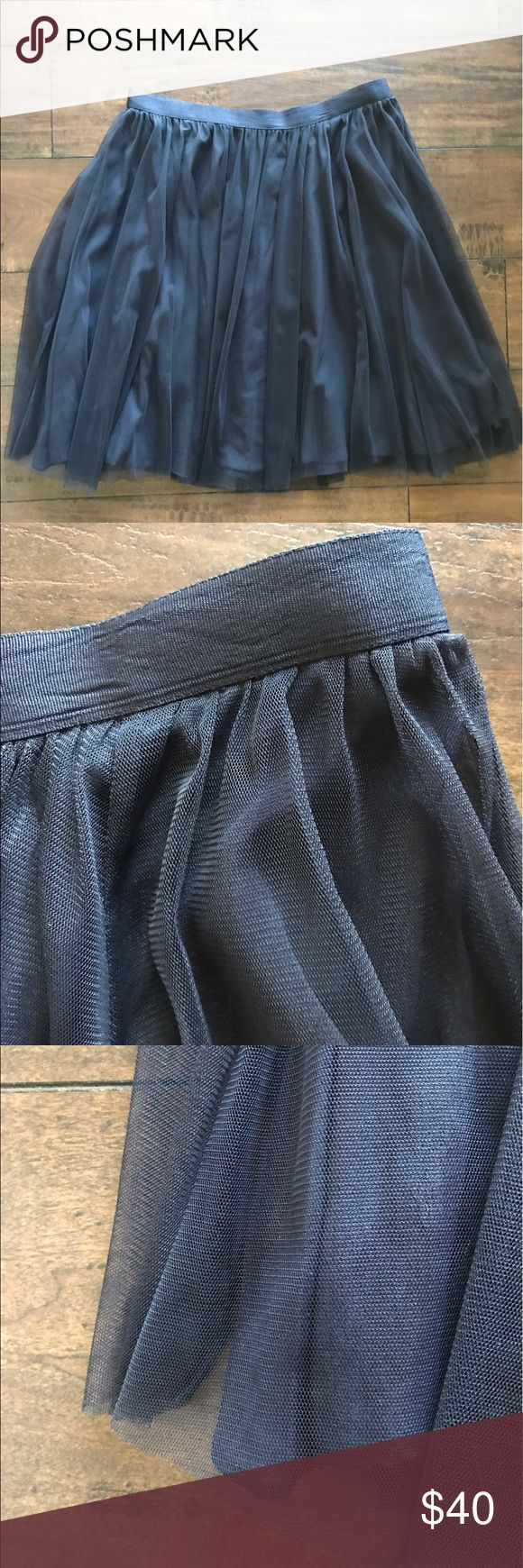 French Connection Navy Tulle Full Lined Skirt French Connection Navy Tulle Full Skirt   Grosgrain Ribbon Waist  Invisible Back Zipper   Lined  Size 8                                                                             Waist 30 and Length 21.5  Shell 100% Polyamide/Nylon  Lining 100% Viscose/Rayon  Dry Clean Only French Connection Skirts A-Line or Full