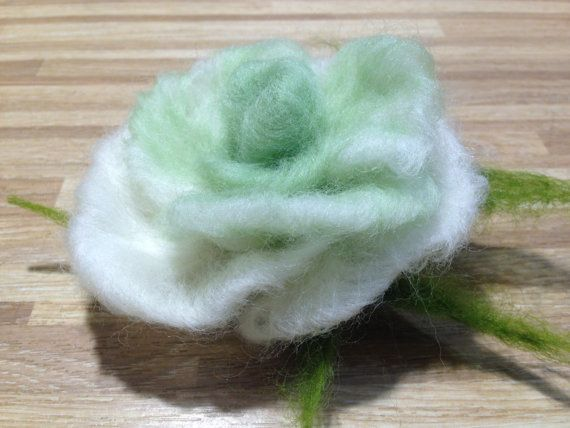 felted brooch / rose/ flower brooche /felted by RozalkaFeltAndWool