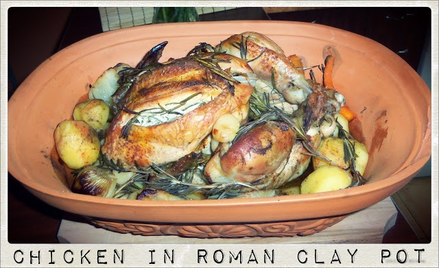 Whole Chicken Roasted in Roman Clay Pot