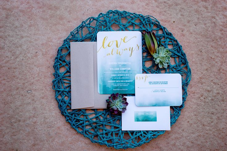 Ombre wetercolor wedding stationery with calligraphy (Maura Jane Photography)