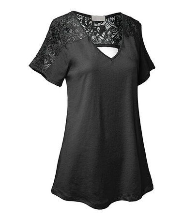 Look what I found on #zulily! Black Lace Cutout Swing Tunic - Plus #zulilyfinds