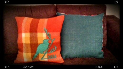 Nz Tui wool blanket cushion