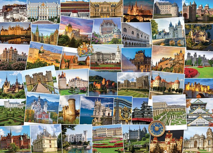 Castles & Palaces Globetrotter. 1000 pieces. It's a small world after all.  Your passport to the best of the castles & palaces in one puzzle, over 40 destinations to view.  This 1000 piece puzzle is sure to give you the travel bug as you will want to book your flight today!