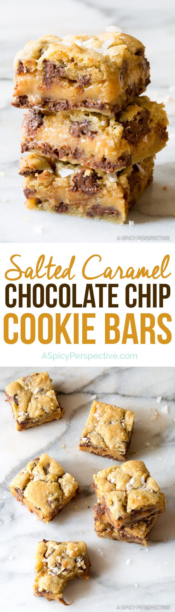 Irresistible Gooey Salted Caramel Chocolate Chip Cookie Bars | ASpicyPerspective.com (Chocolate Chip)