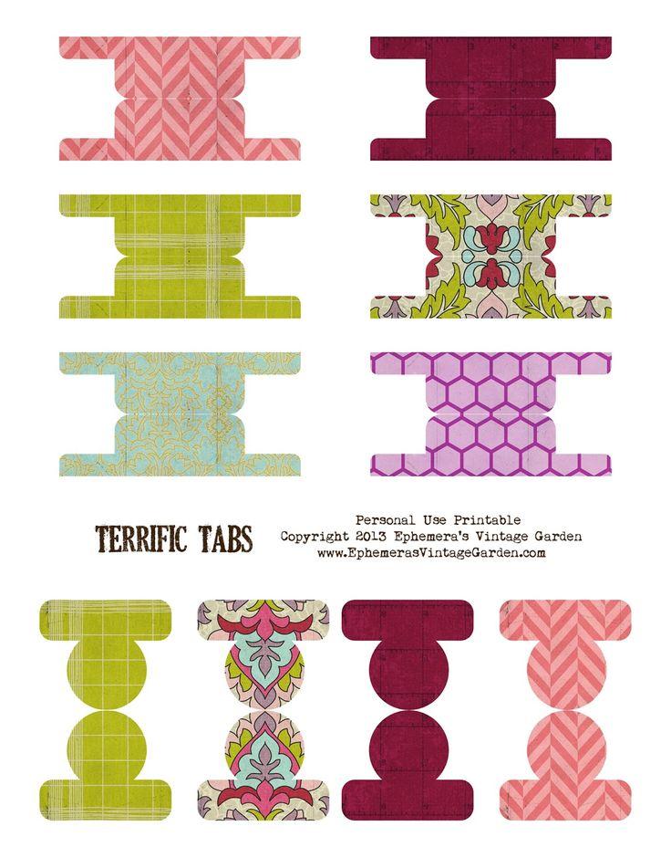 Ephemera's Vintage Garden: Free Weekly Printable - Colourful Page Tabs