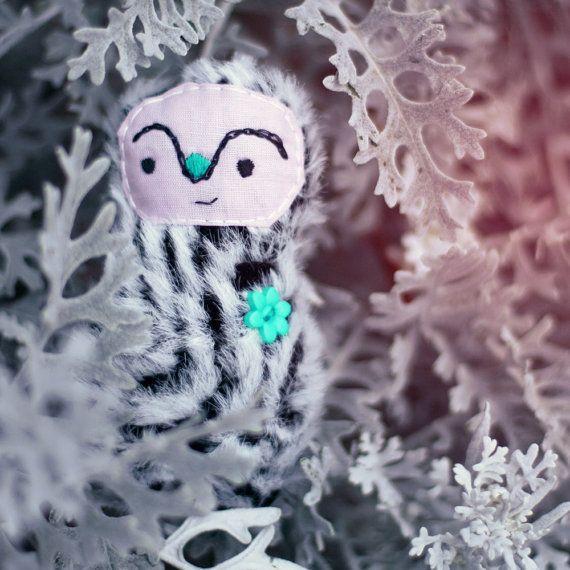 whimsical woodland spirit plush - winter black and white - softie decorative pretty by nanaif  #italiasmartteam #etsy