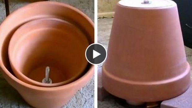 CHAUFFAGE - Système d'appoint fait avec 2 pots en terre cuite - tutoriel