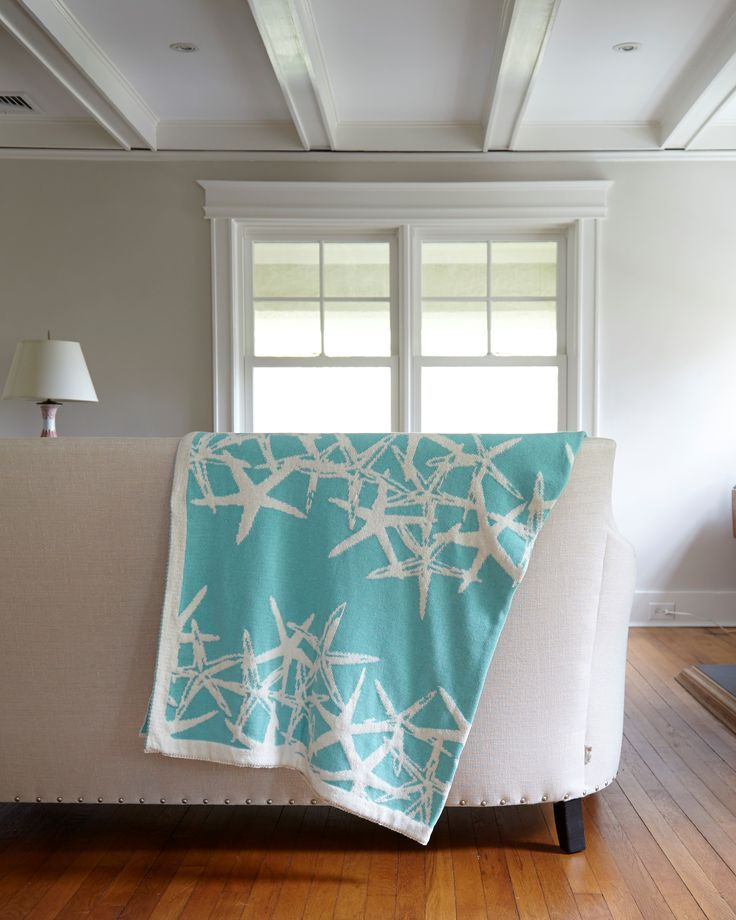 Tumbling Home Starfish Throw - Seafoam  Wonderful coastal color to add to a beach home for this spring!