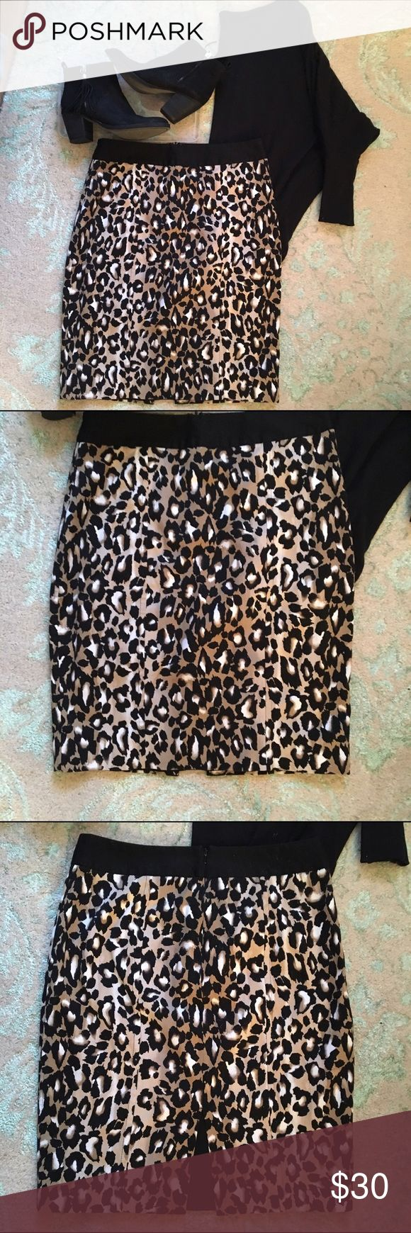 White House Black Market Leopard Pencil Skirt 8 In excellent condition. Lined, hook and zip closure, slit on back. No trades * Will consider reasonable offers * White House Black Market Skirts Pencil