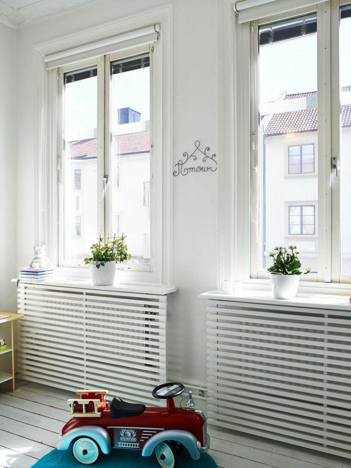 Radiator fairing living room nursery white lattice