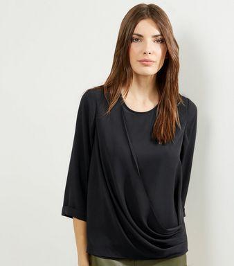 Black Drape Front 3/4 Sleeve Top   New Look