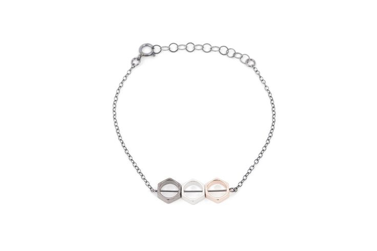 Oxidized silver bracelet w. mixed metal hexagons