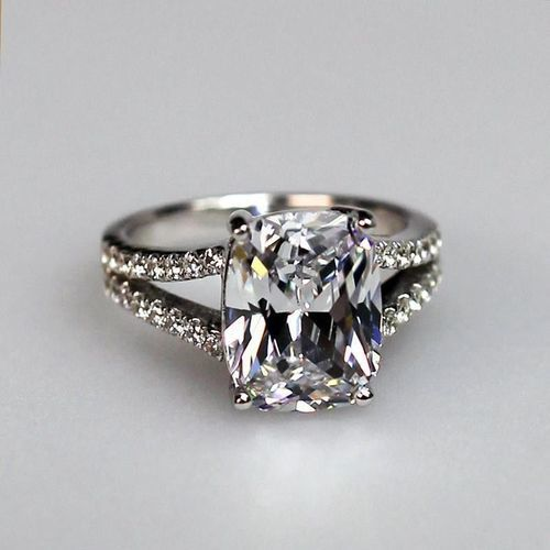 3.85 CTTW 3CT CENTER NSCD Cushion Cut Simulated Diamond Split Shank Engagement Ring in Sterling Silver - Port City Jewelers