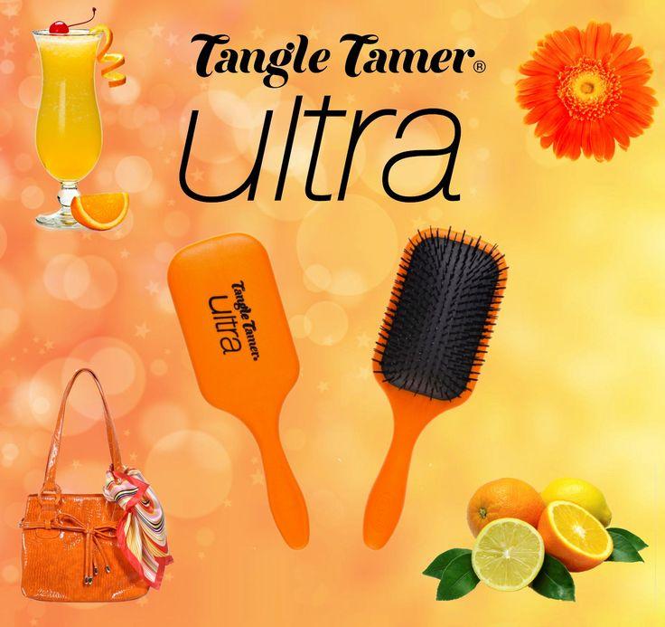 NEW Orange Denman Tangle Tamer Ultra Brush! Perfect for detangling long thick hair! Great colour for summer! http://www.denmanbrush.com/acatalog/Tangle-Tamer-Ultra-Orange.html