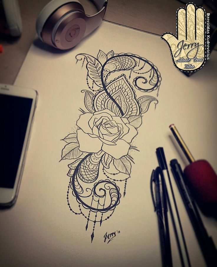 rose tattoo design idea, lace mendi pattern