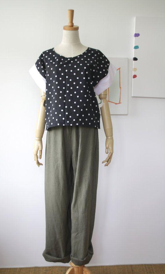 80s black polka dot top. vintage summer top. by SwanDiveVintage, $28.00