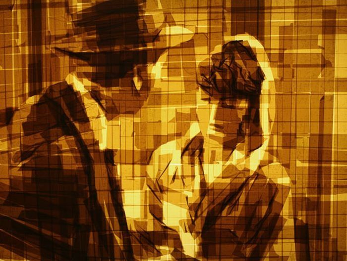 Artist Mark Khaisman uses packing tape on glass to create these gorgeous images.