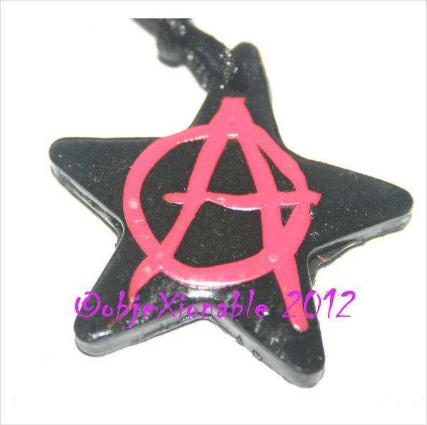 Black and Pink Anarchy Symbol Star Pendant