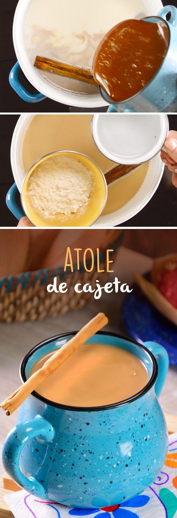 Esta receta de atole de cajeta hecho de masa de maíz es completamente deliciosa. Acompaña este atole mexicano con unos ricos churros de chocolate o tu postre favorito.