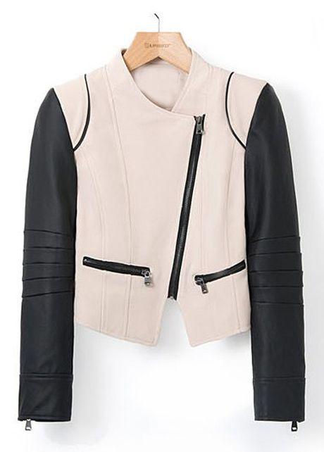 Black and Khaki Color Blocking Long Sleeve Jackets | Rosewe.com