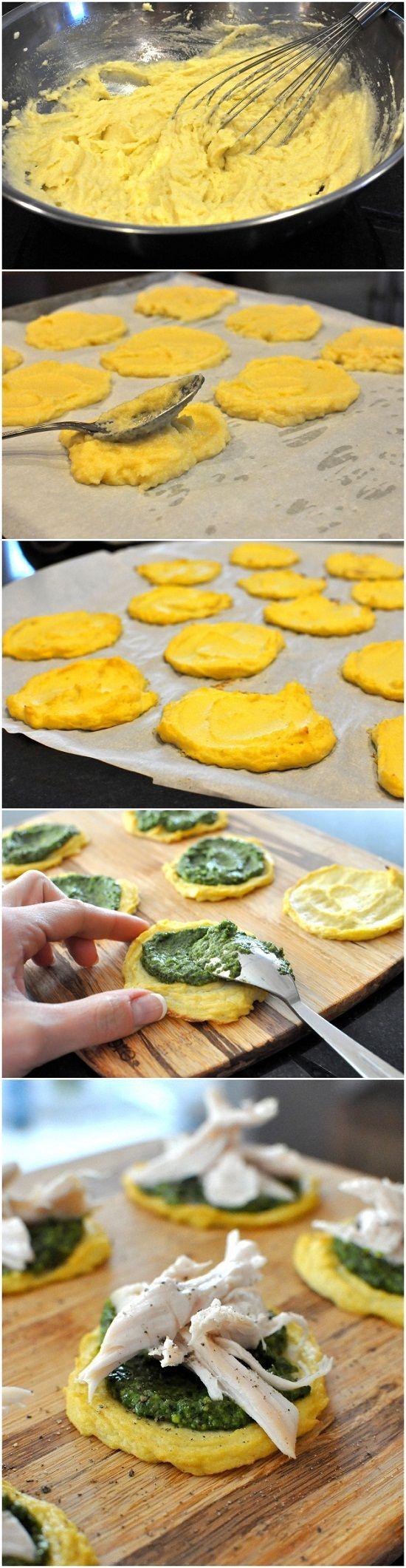 1 Head Cauliflower 1 Egg 1/8 tsp Kosher Salt 3 Tbl Paleo Pesto ½ lb Chopped/Shredded Chicken Salt & Pepper to Taste