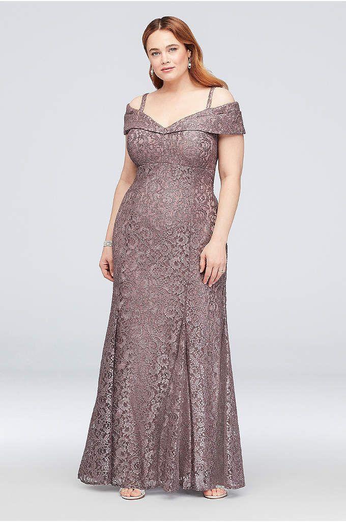 454fd7d129820 Cold-Shoulder Glitter Lace Plus Size Mermaid Dress - This sleek ...