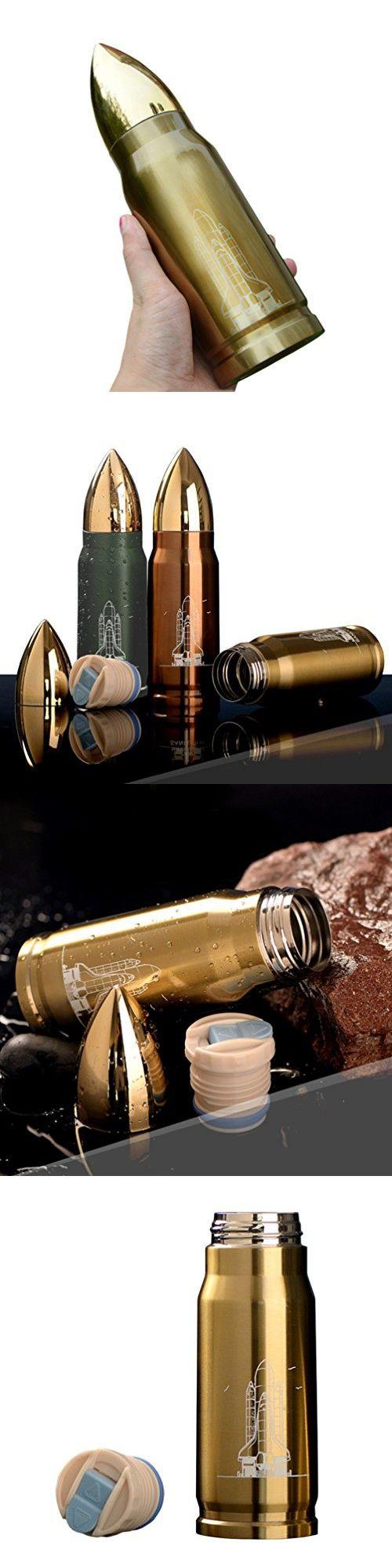 KINGMAS® 350ml Bullet Stainless Steel Vacuum Cup Thermos Mug (Gold)