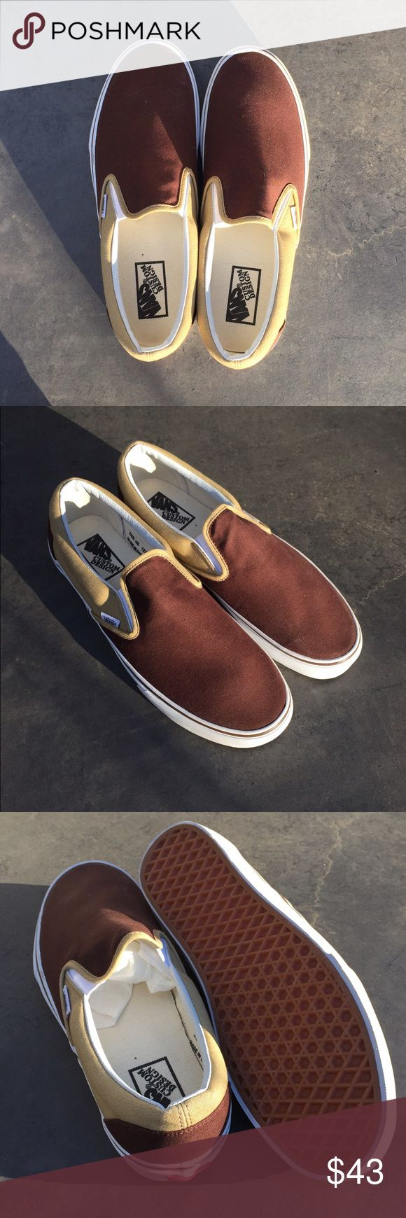 ❣️SALE❣️Men's custom design Vans shoes (size 12) ❣️Valentine's Day sale! One day only❣️Men's custom design Vans slip-on shoes. Size 12. Brown and khaki colored canvas. Like new condition. Vans Shoes Sneakers