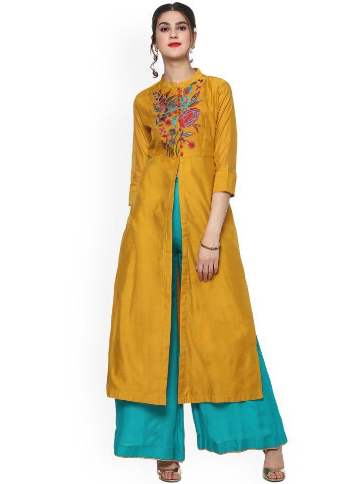 Sassafras Women Mustard Yellow Red Straight Kurta Fashion