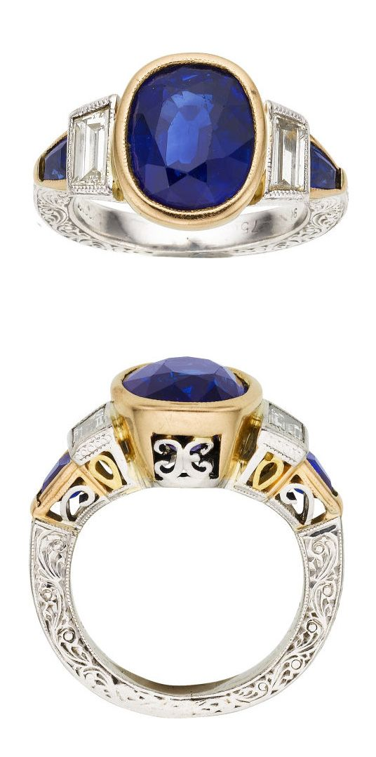 【Jewelry in My Box】Sapphire, Diamond, Platinum, Gold Ring, Michael Beaudry The ring features a cushion-shaped sapphire measuring 10.00 x 8.60 x 6.00 mm and weighing approximately 4.85 carats, enhanced by trapezoid-shaped diamonds weighing a total of approximately 0.65 carat, accented by trapezoid-shaped sapphires weighing a total of approximately 0.35 carat, set in platinum and 18k gold. Marked Beaudry.