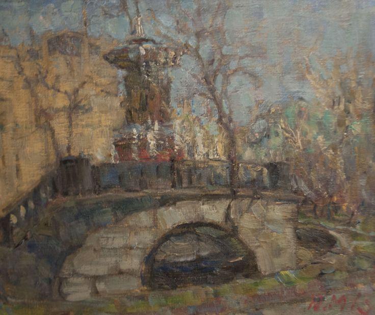 "Malanenkov Yuriy  ""Fountain Vitali at noon"" Oil on canvas 50х60 cm 2013."