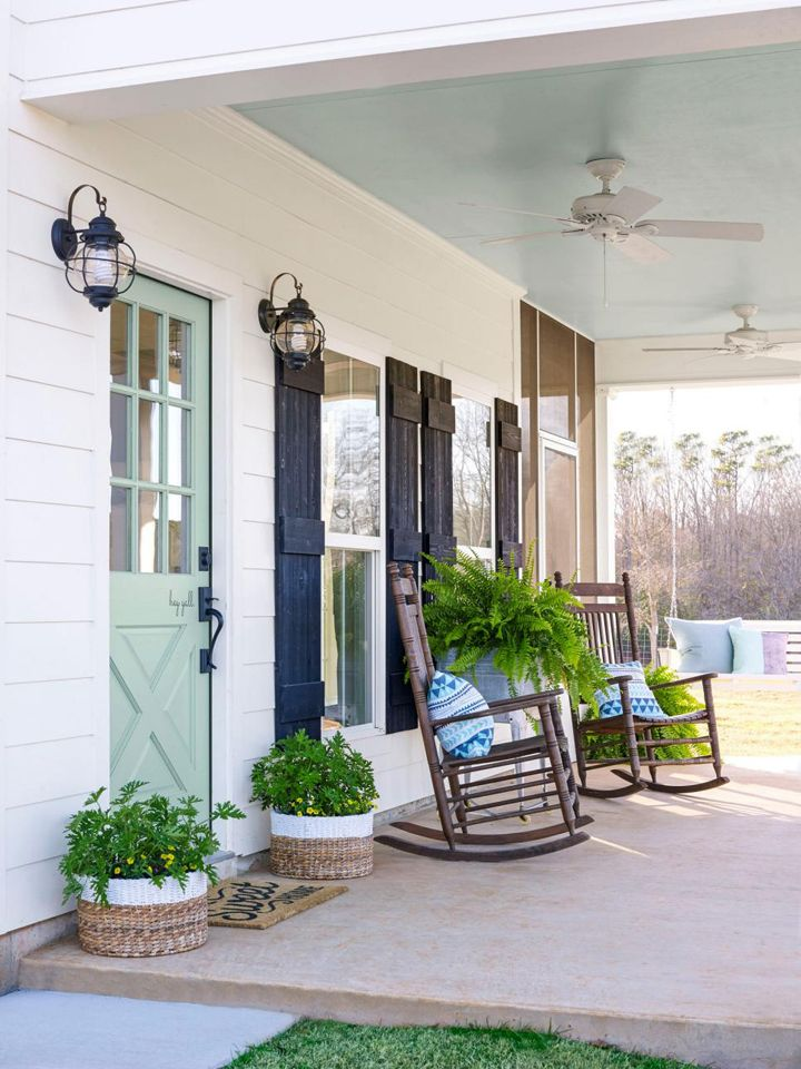 Fixer Upper-Inspired Farmhouse Porch with Painted Ceiling and Door