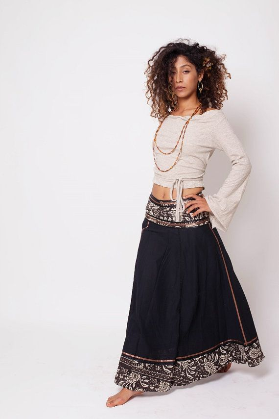 Bohemian Skirt , Boho Skirt , Bohemian Clothing , Black Gypsy Skirt , Long Skirt , One Size