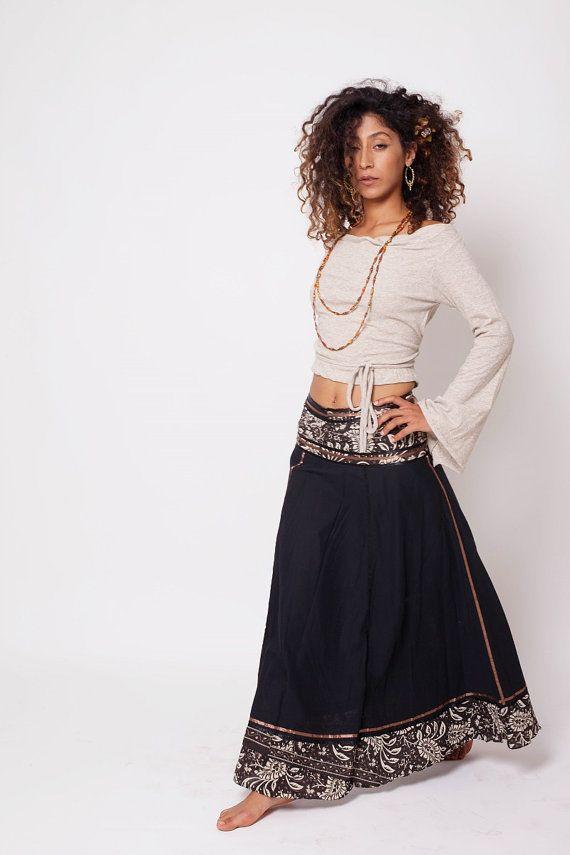 Falda Bohemia, Boho, ropa Bohemia, falda de gitana negro, falda larga, un tamaño