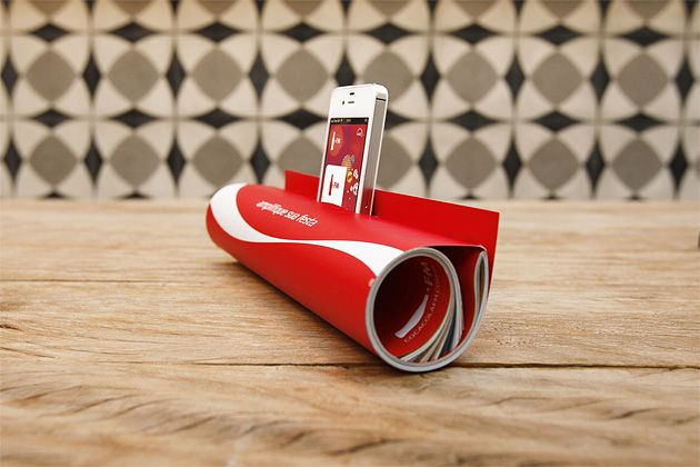 Print - Mobile: Coke Brazil makes a print campaign that turns the magazine into a megaphone to Iphone...