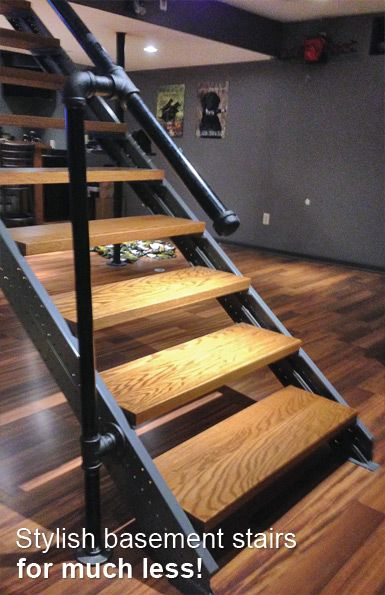 Fast Stairs - Canadian company that sells 'Stringer' stair DIY kits - you select the model based on the height/space and you supply the treads