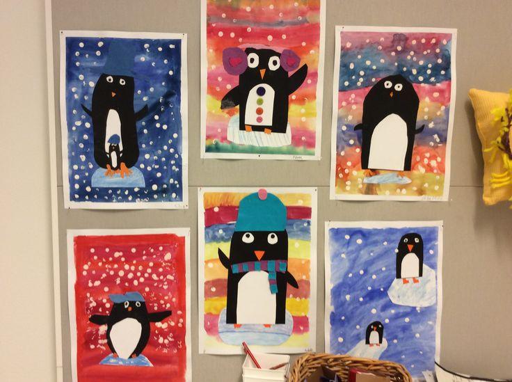 Pingviinit 2.lk  Vesiväripohja, askartelua kartongista ja huovasta