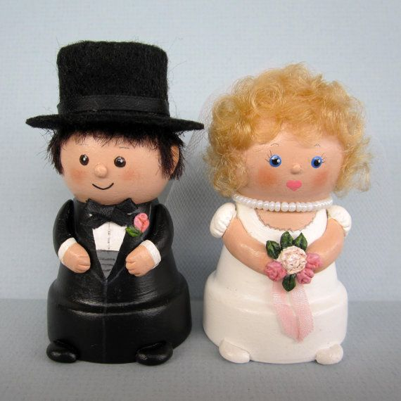 Bride and Groom Flowerpot Bells, Decoration, Cake Topper, Keepsake