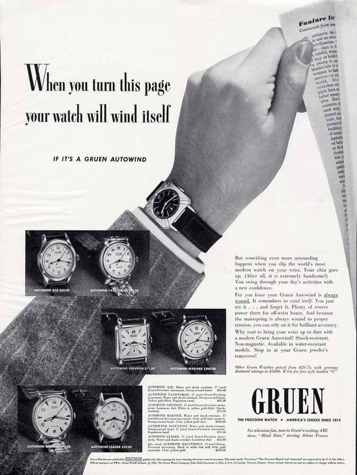 1951 Gruen watch ad ‹ Strickland Vintage Watches